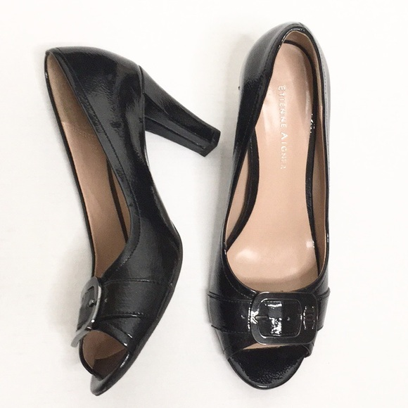 96134fd8e1 Etienne Aigner Shoes - Etienne Aigner   Black Patent Open-Toe Heels